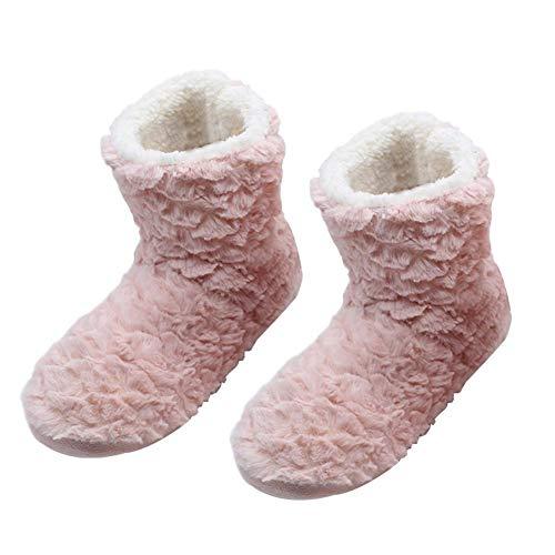 Sunsline Frauen Winter Hausschuhe zu Hause Indoor Bodenbelag Baumwolle warme Hausschuhe (41, Rosa)