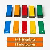 ECENCE 75 Etichette magnetiche scrivibili - 60x20 mm Colorate - Strisce adesive tagliabili - cartellini magnetici cancellabili - Etichette magnetiche per lavagne Bianche, frigoriferi, lavagne Magnet
