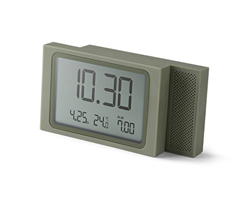 Lexon Slide Clock - Despertador plástico ABS y Goma, 8,5x2,2x5,5cm, plástico, Color Gris...