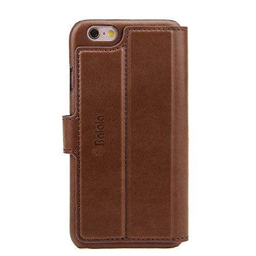 Balala Custodia iPhone 6/6S 4.7/Custodia in Pelle con Pellicola protettiva Marrone Marrone