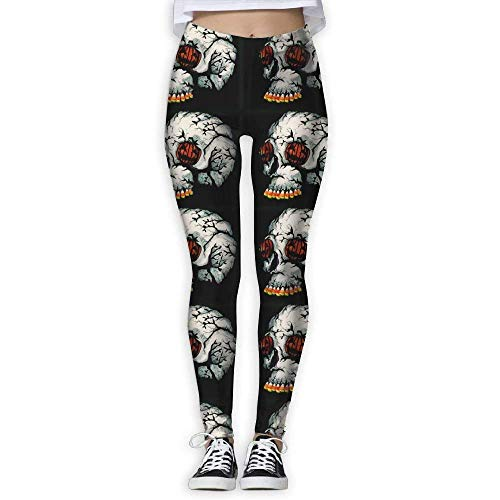 Deglogse Yogahosen, Trainingsgamaschen,Halloween Pumpkin Skull Women's Tummy Control Sports Running Yoga Workout Leggings Pants