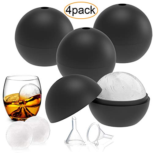 YHmall 4 Pack Eiswürfelform Silikon Eiskugelform Eiswürfelbehälter Eiswürfel, Eiswürfelbehälter für Familie, Partys und Bars (Schwarz/Blau)