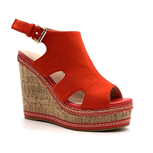 Angkorly - Damen Schuhe Sandalen Mule - Classic - Vintage/Retro - Plateauschuhe - mit Stroh - Kork Keilabsatz high Heel 12 cm - Rot MK573 T 41 Heel Mule