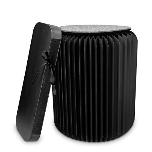 Navaris Design Hocker aus Papier faltbar - Akkordeon Sitz mit Auflage aus Filz - Karton Sitzhocker 42x36cm - Falthocker aus Pappe rund in Schwarz
