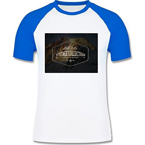 Wintersport - Retro Design Berge - zweifarbiges Baseballshirt für Männer Weiß/Royalblau