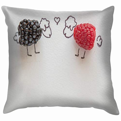 spberry Lamb and Drink Creative Throw Pillow Case Cushion Cover Pillowcase Watercolor for Couch 18X18 Inch ()