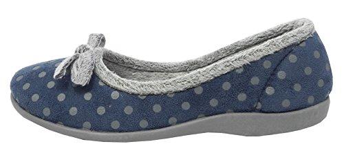 Pantofole da donna in memory foam ROSA o BLU a pois misura da 35 a 42 Blu (blu)