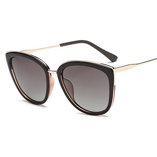 xinhao Sonnenbrille Flut Sonnenbrille Big Box Quadrat Gesicht dünne runde Sonnenbrille polarisierte Gläser verdorbene Gläser Anti UV-Sonnenbrille, konische Kaffee -