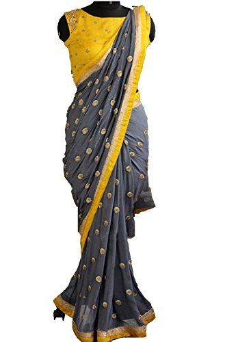 Arawins Georgette Saree (Grey, Free Size)