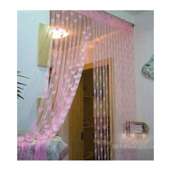 Geo Nature Eyelet Polyester 7 ft Door Curtain (Pink)