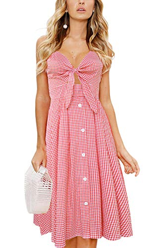 Plaid-kleid (ECOWISH Damen V Ausschnitt A-Linie Kleid Träger Rückenfreies Kleider Sommerkleider Strandkleider Knielang 1603Rot Plaid XL)