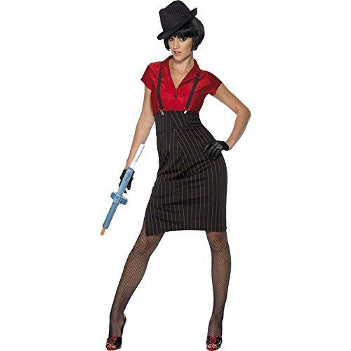 Smiffys, Damen 20er Gangsterin Kostüm, Rock, Hemd, Hosenträger und Handschuhe, Größe: S, (Zoot Kostüme)