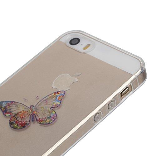 Apple iphone SE Transparent Silikon Case,iphone 5s hülle,Ekakashop Ultra dünn Slim Durchsichtig Transparente Muster Crystal Gel Silikon TPU Motiv Bumper Cas Schutzhülle Etui Tasche Cover Schutz Hüllen Zwei Schmetterlinge