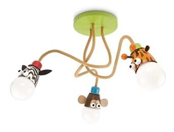 Philips Plafonnier MyKidsRoom Zoo Children's Multi couleur comprend 3 x 12 W E27)
