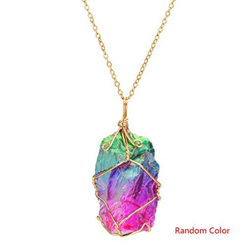 Beaums Frauen-Regenbogen-Naturstein-Anhänger-Halskette Hochzeit Geschenk-Kristallschmucksache-Strickjacke-Kette zufällige Farbe