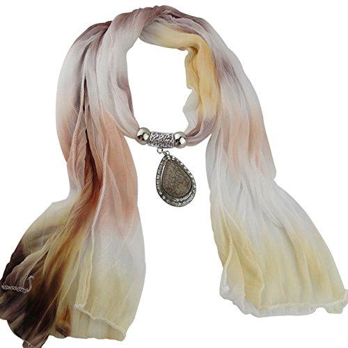 ESHOO Femmes Gradient Châle Écharpe Collier pendentif à Cravates D