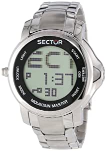 Sector Men's Digital Watch with LCD Dial Digital Display and Silver Stainless Steel Bracelet R3253121025