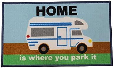 """Quest Wohnmobil-Matte, Design: """"Home is where you park it"""" (in englischer Sprache), waschbar"""