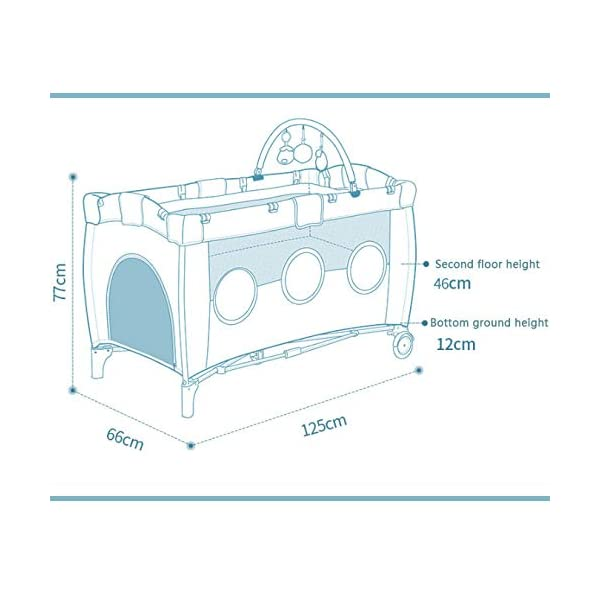 Folding Bassinet, Compact, Portable And Secure Baby Bed, Suitable For 0-4 Years Old / 125 * 66 * 77cm,OceanSeries YXLONG ♔The steel tube frame, 210D polyester, provides a solid and stable structure for your child's safe sleep. Padded top rail for added safety when used. A folding pad base is also included. The fabric can be easily wiped clean and kept dry. ♔This fence has a changer that is more functional than a similar fence. The mother no longer feels tired when changing the baby diaper. The changer is easy to clean so you don't have to worry about hygiene. ♔The versatile travel cot features large picture windows and a functional exit cabin. Your child can crawl through the hatch and climb out of the crib. 5