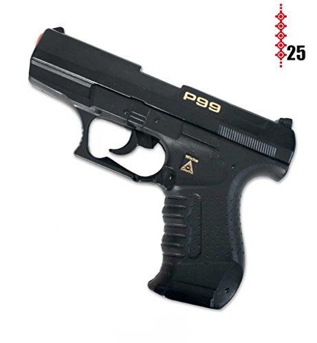 Pistole Agent P99, (25er-Streifen Munition), ca. 18 cm Länge, Spielzeugpistole, Kinderspielzeug, Spielzeug, Plastikpistole, Karneval, Kostümzubehör (Cia Agent Kostüm)