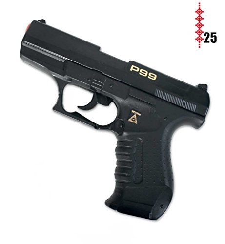 Kostüm Agent Cia - Pistole Agent P99, (25er-Streifen Munition), ca. 18 cm Länge, Spielzeugpistole, Kinderspielzeug, Spielzeug, Plastikpistole, Karneval, Kostümzubehör