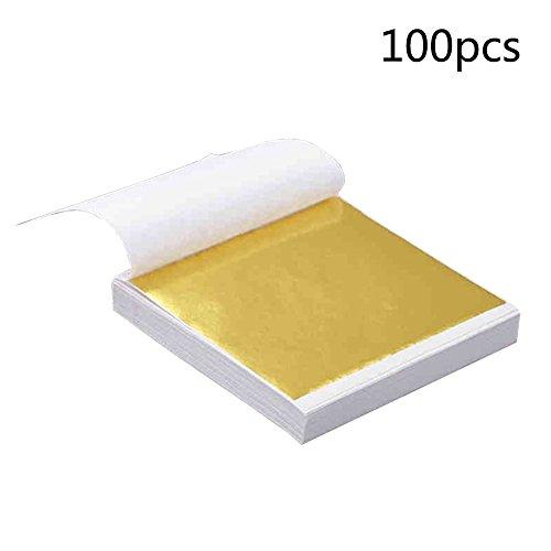 Goldfolienpapier, Goldfolie, quadratisch, Goldfolie, für Kunst, Handwerk, Vergoldung, Basteln, Dekoration, Möbel, Make-up, 8 x 8,5 cm, 100 Blatt