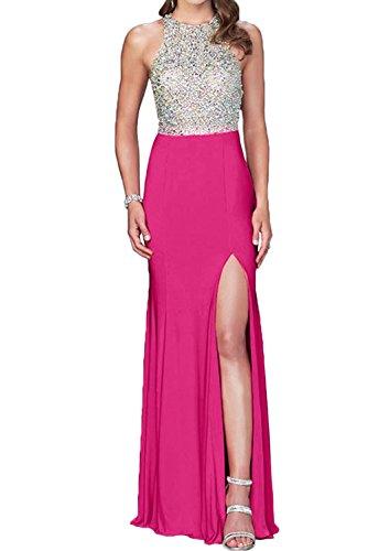 Toscana sposa Exquisite pietra nuovo sera vestiti lungo di alta qualità Chiffon Prom abiti vestiti da ballo Schlitz Pink