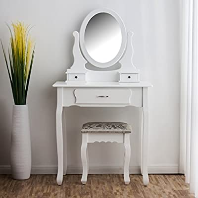 CherryTree Furniture Dressing Table 3-Drawer Makeup Dresser Set with Stool Oval Mirror BF001 - inexpensive UK light shop.