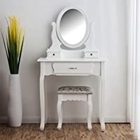 CherryTree Furniture Dressing Table 3-Drawer Makeup Dresser Set with Stool Oval Mirror BF001