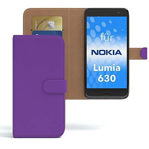 EAZY CASE Hülle für Nokia Lumia 630 Dual SIM Bookstyle mit Standfunktion, Book-Style Case aufklappbar, Schutzhülle, Flipcase, Flipstyle, Flipcover mit 2 Kartenfächern aus Kunstleder, Lila