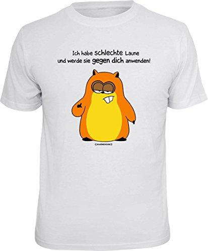 lustiges Damen Herren Fun T-Shirt im Set mit MiniShirt Ich habe schlechte Laune, ideales Geschenk, Farbe weiß Weiß