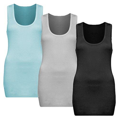 3x Damen Tanktop - Beach Top - Tank Tops - Unterhemd Ringertop - Ringerrücken - Runder Halsausschnitt - TShirt - 3er Pack - 9002 - Schwarz + Weiß + Aqua (Shirt Aqua-spitze)