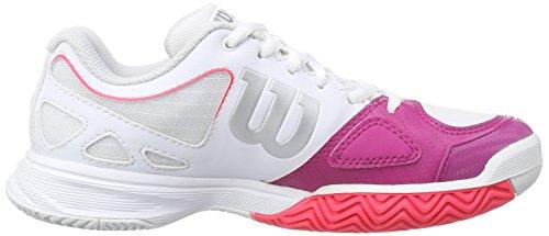 Wilson  RUSH EVO WOMAN, Baskets de tennis femme Multicolore - Mehrfarbig (White / Fiesta Pink / Neon Red)