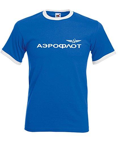 Aeroflot Original Retro T-Shirt mit kultige Kontraststreifen an Hals und Arm, Retrodesign Royalblau XL -