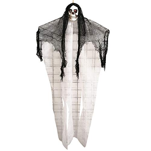 Cossll498 Horrible Hanging Skull Ghost Decor Halloween Party Haunted House Bar Ornament - White (Dvd Halloween Making Prop)