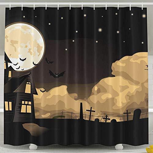 Presock Duschvorhänge, Halloween Vector Digital Art Witch Bats Night Cool Bathroom Curtains 60X72 Inch Eco-Friendly Fabric Bathroom Set with Hooks
