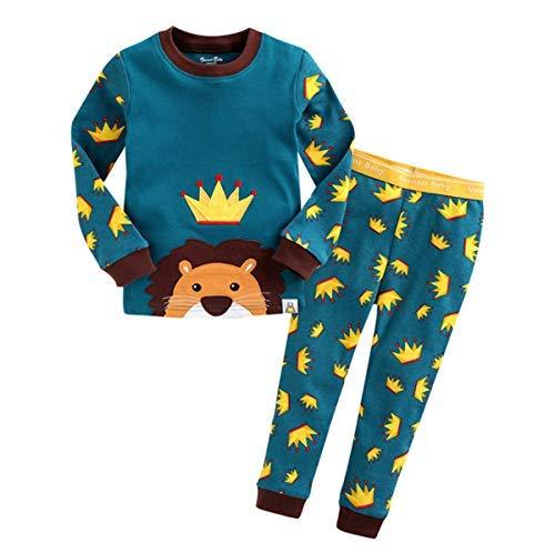 HB.YE Baby Schlafanzug Kinder Schlafsack mit Füßen Baumwolle Strampler Jungen Mädchen unisex warm Winter Cartoon (Reiner Pyjama - Löwe, M)