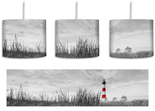 Bodie Island Lighthouse in North Carolina schwarz/weiß inkl. Lampenfassung E27, Lampe mit Motivdruck, tolle Deckenlampe, Hängelampe, Pendelleuchte - Durchmesser 30cm - Dekoration mit Licht ideal für Wohnzimmer, Kinderzimmer, Schlafzimmer