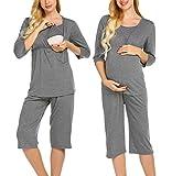 MAXMODA Stillpyjama Umstandspyjama Stillschlafanzug für Damen mit Stillfunktion Nachtwäsche für Schwangerschaft und Stillzeit-Stillfunktion Shirt mit 3/4 Ärmeln & Lange Hose Grau XL