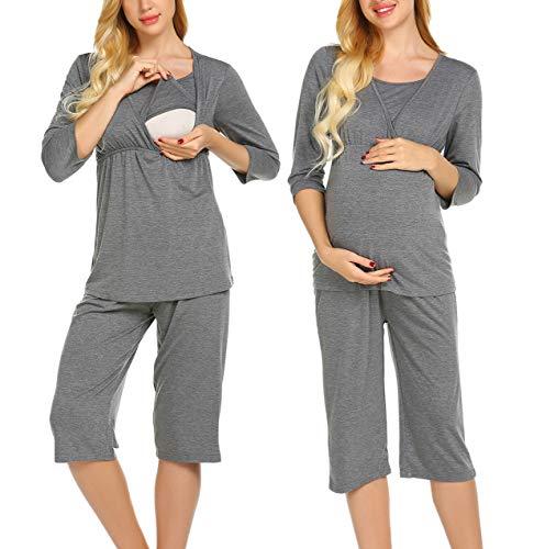 MAXMODA Stillpyjama Stillschlafanzug Umstandspyjama für Damen Leichte Nachtwäsche für Schwangere mit 3/4 Ärmeln und Lange Hose Grau XXL