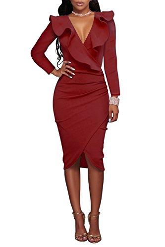 YMING Damen Midi Kleid Rüsche Kleid Tief V-Ausschnitt Partykleid Bodycon Stretchkleid,Rot,XL / DE 42-44 (Plus Size Punk Kleid)
