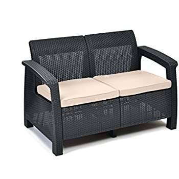 keter lounge sofa balkon korfu graues lounge sofa in rattanoptik lounge 2 sitzer. Black Bedroom Furniture Sets. Home Design Ideas
