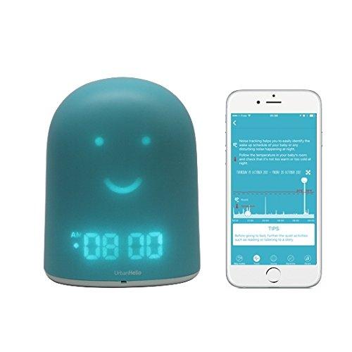 UrbanHello REMI – Babyphone audio avec alertes de bruit 5-en-1 - Réveil Jour Nuit éducatif et Suivi du sommeil - Veilleuse - Enceinte Bluetooth - en Bleu