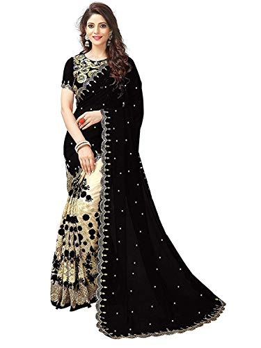 Clothfab Women\'s Georgette and Net Saree With Blouse Piece - Black_Free Size