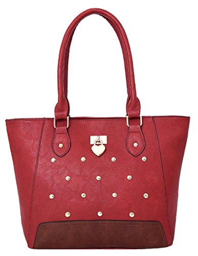 Kukubird Cecilia Ecopelle Metal Stud & Cuore Dettaglio Top-manico Tracolla Tote Handbag Red