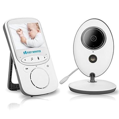 VOSMEP 2017 Neu Mini Wireless Video Baby Monitor Babyphone mit Kamera +Gegensprechfunktion + Nachtsicht + Lullabies + Temperatursensor