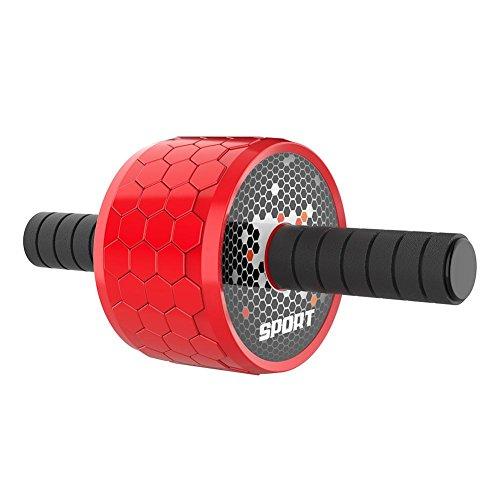 lennonsi Bauchtrainer Roller Bauchroller Abdominal AB Roller Bauchmuskeltrainer Fitnessgerät mit Komfortgriffen Anti-Rutsch trainiert Bauch Rücken Rot