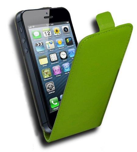 Apple iPhone 5 / 5S Flip Hülle in SCHWARZ von Cadorabo - Handy-hülle in Kunstleder für iPhone 5 / 5S Case Cover Schutz-hülle Etui Tasche in KAVIAR-SCHWARZ GIFT-GRÜN