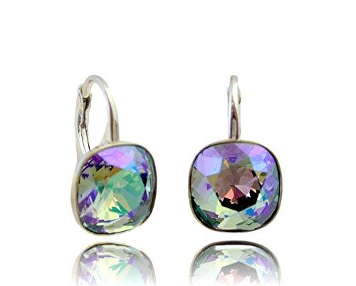 Crystals & Stones *Viele Farben* Silber 925 *SQUARE* - Ohrringe mit Kristallen von Swarovski® - Schön Ohrringe Damen Ohrhänger - Wunderbare Ohrringe mit Schmuckbox (Paradise Shine)