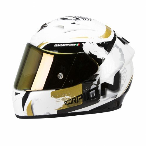 SCORPION EXO-710 AIR CERBERUS casco integral Blanco Perla - Oro Talla: